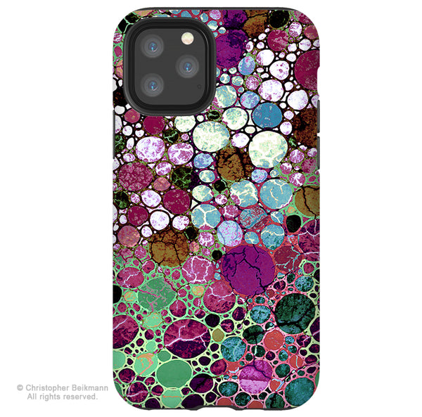 Berry Bubbles - iPhone 11 / 11 Pro / 11 Pro Max Tough Case - Dual Layer Protection for Apple iPhone XI - Burgundy Abstract Art Case