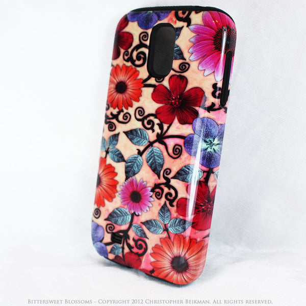 Peach Floral Galaxy S4 case - TOUGH style protective case - Bittersweet Blossoms - Galaxy S4 TOUGH Case - 2