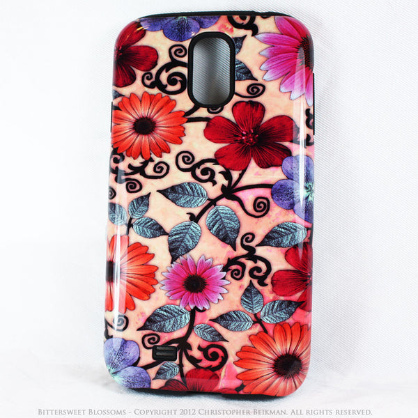 Peach Floral Galaxy S4 case - TOUGH style protective case - Bittersweet Blossoms - Galaxy S4 TOUGH Case - 1