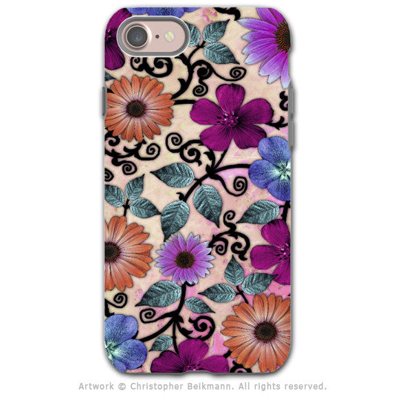 Peach and Pink Paisley Floral - Artistic iPhone 7 Tough Case - Dual Layer Protection - Bittersweet Blossoms