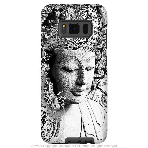 Black and White Buddha - Artistic Samsung Galaxy S8 Tough Case - Dual Layer Protection - Bliss of being - Fusion Idol Arts