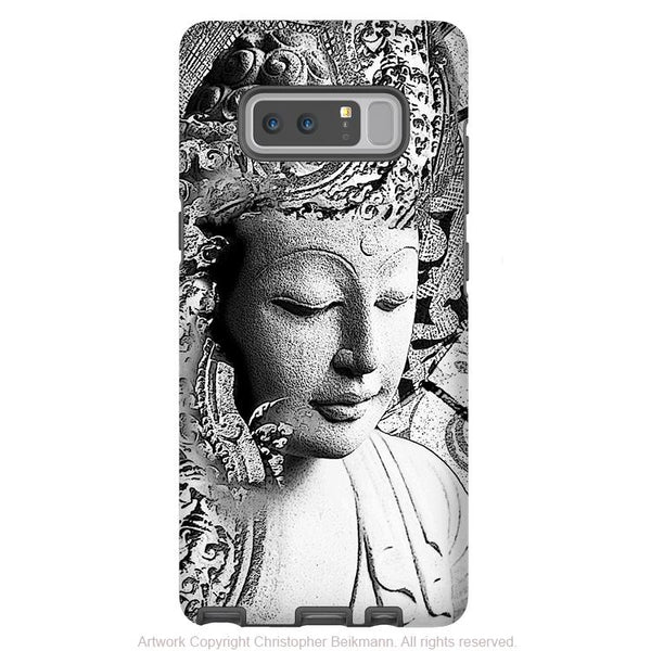 Black and White Buddha Galaxy Note 8 Tough Case - Dual Layer Zen Case for Samsung Galaxy Note 8 - Bliss of Being