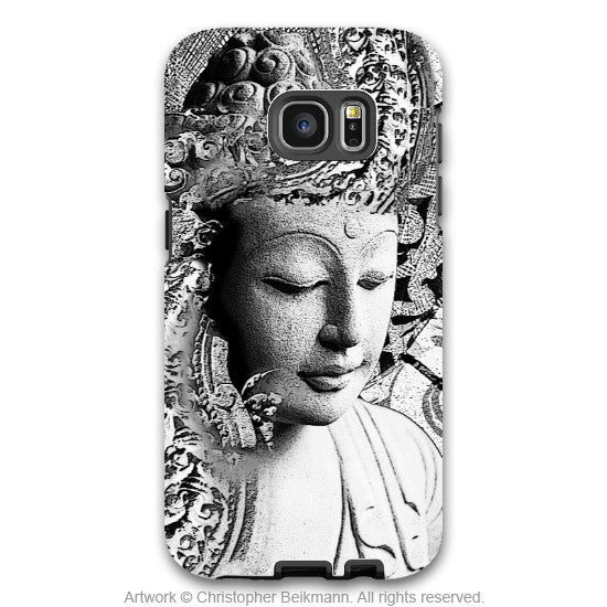 Black and White Buddha - Artistic Galaxy S6 EDGE TOUGH Case - Dual Layer Protection - Bliss of Being - Galaxy S6 Edge Tough Case - 1