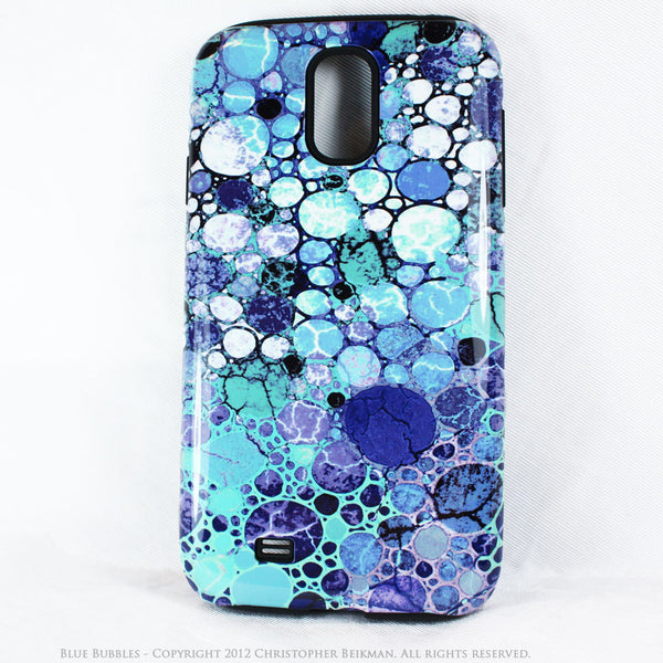 "Abstract Blue Galaxy S4 case - TOUGH Style Protective Case - Artwork ""Blue Bubbles"" - Galaxy S4 TOUGH Case - 1"
