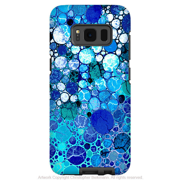 Blue Bubble Abstract - Artistic Samsung Galaxy S8 PLUS Tough Case - Dual Layer Protection - Blue Bubbles - Fusion Idol Arts