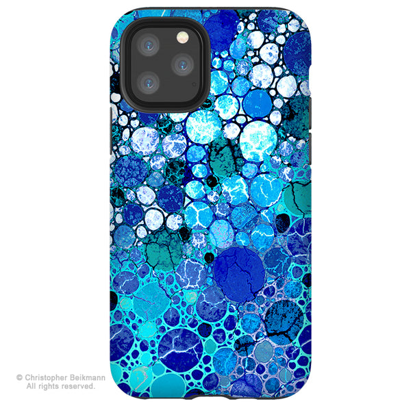 Blue Bubbles - iPhone 12 / 12 Pro / 12 Pro Max / 12 Mini Tough Case Tough Case - Dual Layer Protection for Apple iPhone XI - Blue Abstract Art Case