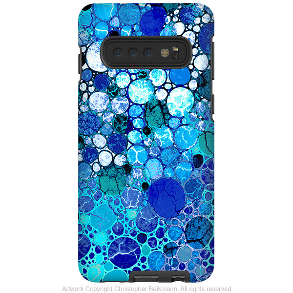 Blue Bubbles - Galaxy S10 / S10 Plus / S10E Tough Case - Dual Layer Protection - Blue and White Abstract