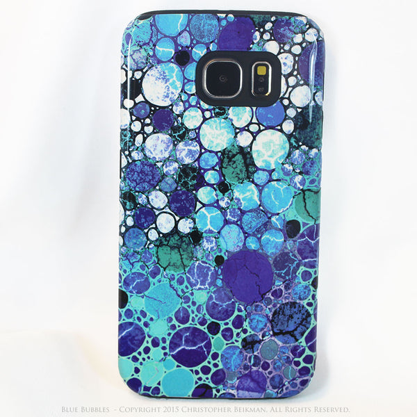Blue Abstract Galaxy S6 Tough Case - Blue Bubbles - Artistic Galaxy S6 case - Galaxy S6 TOUGH Case - 1
