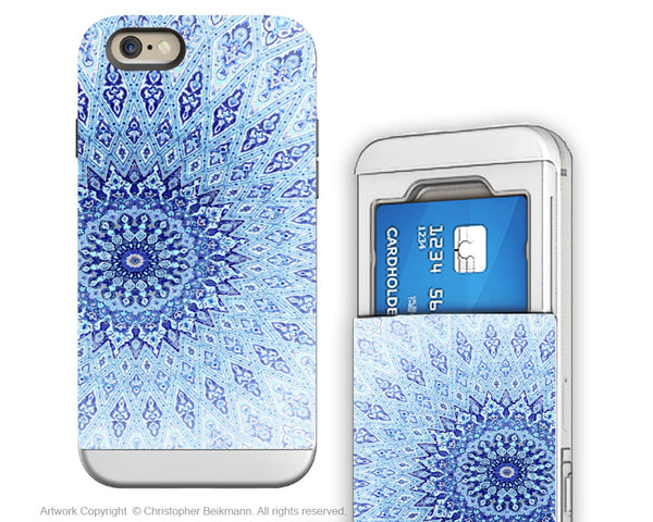 Blue Mandala iPhone 6 6s Cardholder Case - Zen Art Credit Card Holder Wallet Case for iPhone 6s - Cloud Mandala