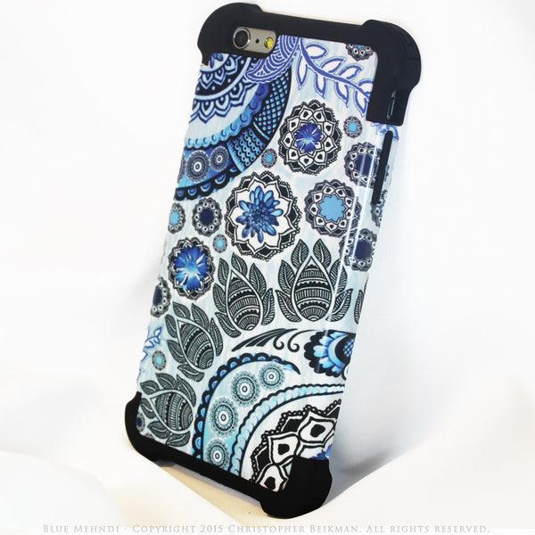 Blue Paisley iPhone 6 Plus - 6s Plus Case - Blue Mehndi - Floral iPhone 6 Plus SUPER BUMPER Case - iPhone 6 Plus SUPER BUMPER - 2