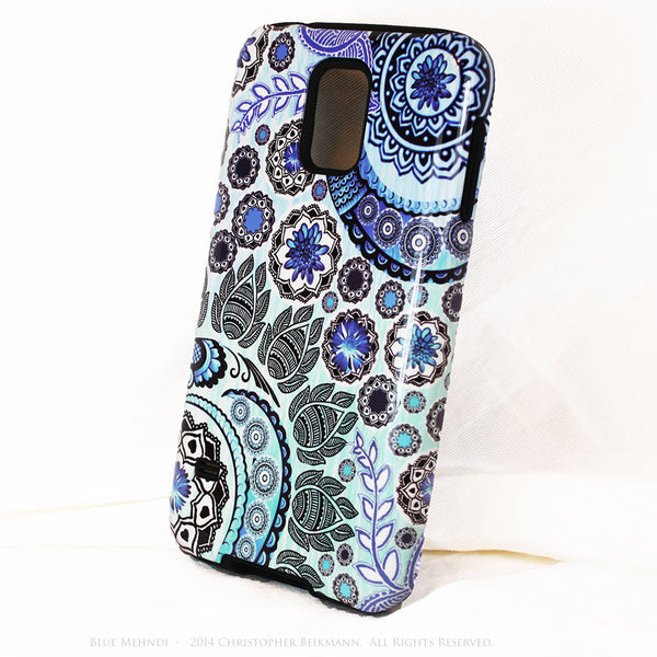 Blue Floral Galaxy S5 case - TOUGH style protective case - Blue Mehndi - Blue and White Indian Paisley S5 Case - Galaxy S5 TOUGH Case - 2