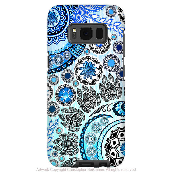 Blue Paisley Mehndi - Artistic Samsung Galaxy S8 Tough Case - Dual Layer Protection - blue mehndi - Fusion Idol Arts