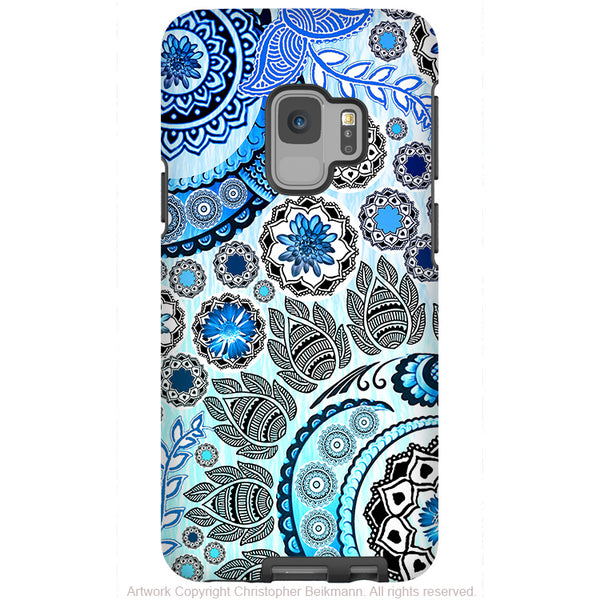 Blue Mehndi - Galaxy S9 / S9 Plus / Note 9 Tough Case - Dual Layer Protection for Samsung S9 - Blue Paisley Art Case
