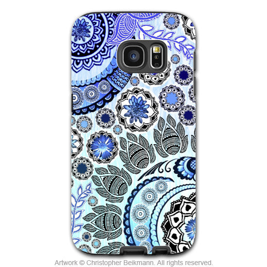 Blue Paisley Mehndi - Artistic Galaxy S6 EDGE TOUGH Case - Dual Layer Protection - Blue Mehndi - Galaxy S6 Edge Tough Case - 1