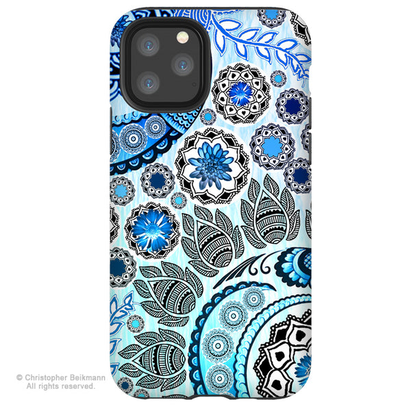 Blue Mehndi - iPhone 12 / 12 Pro / 12 Pro Max / 12 Mini Tough Case Tough Case - Dual Layer Protection for Apple iPhone Blue Paisley Art Case