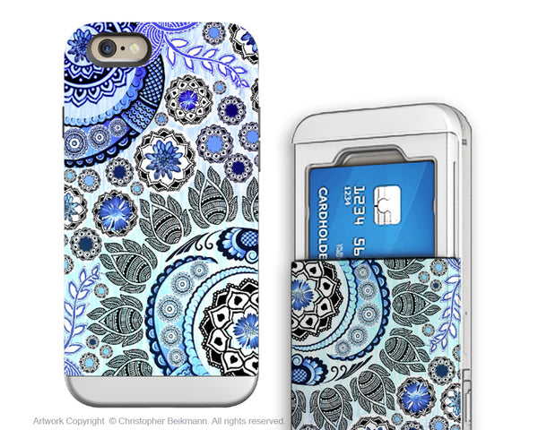 Blue Paisley iPhone 6 6s Cardholder Case - Blue Mehndi - Floral Credit Card Holder Wallet Case for iPhone 6s - iPhone 6 6s Cardholder Case - 1