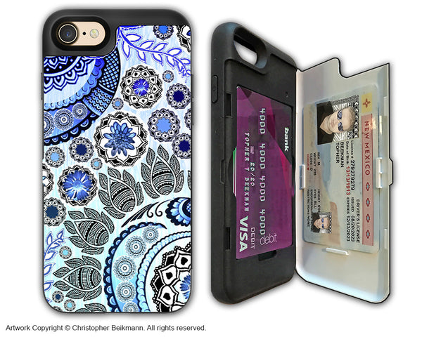 Blue Paisley Mehndi - Artistic Apple iPhone 7 Card Holder Case - Protective Wallet Case - blue mehndi - iPhone 7 Card Holder Case - Fusion Idol Arts - New Mexico Artist Christopher Beikmann