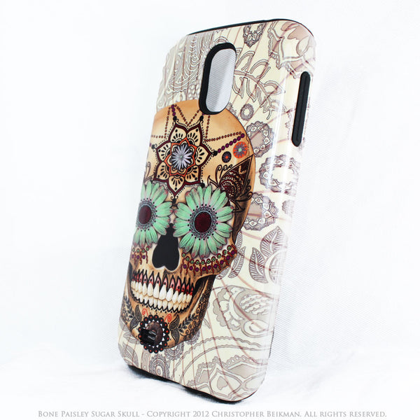 Sugar Skull - Bone Paisley - Day of The Dead Art Galaxy S4 case - TOUGH style protective case - Galaxy S4 TOUGH Case - 2