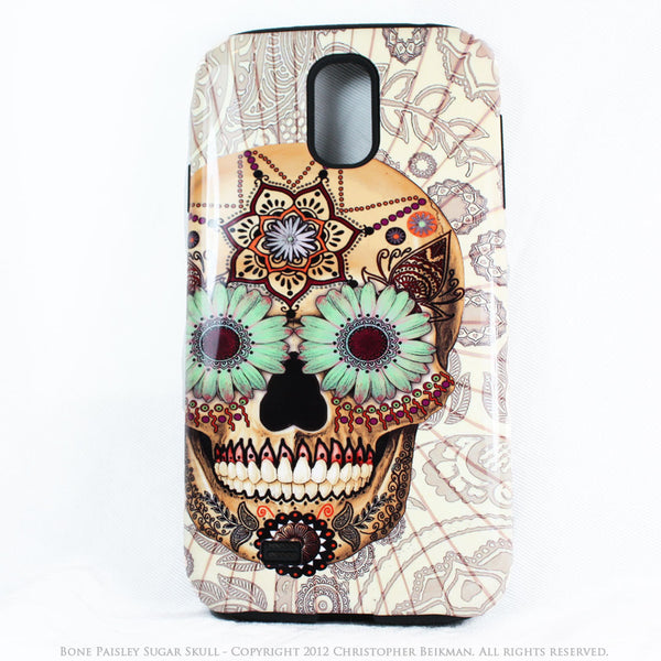Sugar Skull - Bone Paisley - Day of The Dead Art Galaxy S4 case - TOUGH style protective case - Galaxy S4 TOUGH Case - 1