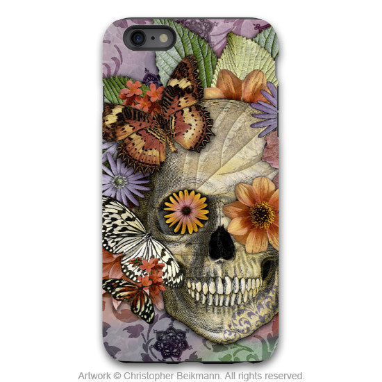 iPhone 6 6s Plus Skull, flowers and Butterfly Case - Butterfly Botaniskull - Day of the Dead - Artistic Tough Case for iPhone 6 6s Plus - iPhone 6 6s Plus Tough Case - 1