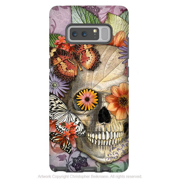 Butterfly Sugar Skull Galaxy Note 8 Case - Butterfly Botaniskull - Floral Sugar Skull Note 8 Tough Case