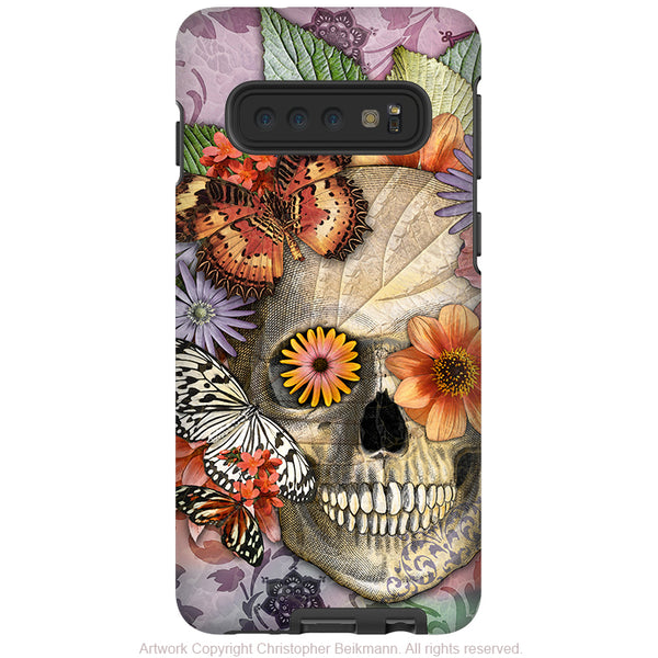 Butterfly Botaniskull - Galaxy S10 / S10 Plus / S10E Tough Case - Dual Layer Protection - Floral Sugar Skull Case