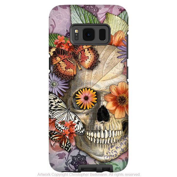 Butterfly Floral Skull - Artistic Samsung Galaxy S8 PLUS Tough Case - Dual Layer Protection - Butterfly Botaniskull - Fusion Idol Arts