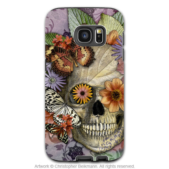 Butterfly Floral Skull - Artistic Galaxy S6 EDGE TOUGH Case - Dual Layer Protection - Butterfly Botaniskull - Galaxy S6 Edge Tough Case - 1