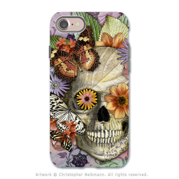 Butterfly Floral Skull - Artistic iPhone 7 Tough Case - Dual Layer Protection - Butterfly Botaniskull - iPhone 7 Tough Case - 1
