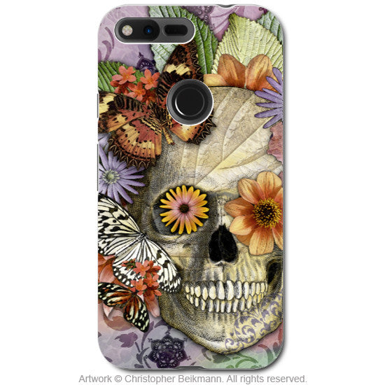Butterfly Floral Skull - Day of the Dead Google Pixel Tough Case - Dual Layer Protection - butterfly botaniskull