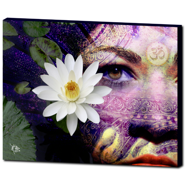 Hindu Lakshmi Goddess Photo Collage Art Canvas - Full Moon Lakshmi - Premium Canvas Gallery Wrap - Fusion Idol Arts - New Mexico Artist Christopher Beikmann