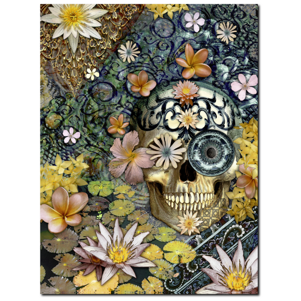 Floral Sugar Skull - Canvas Print - Solid Surface with Fully Finished Back - Bali Botaniskull - Premium Canvas Gallery Wrap - Fusion Idol Arts - New Mexico Artist Christopher Beikmann