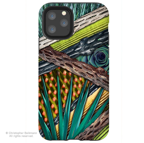 Cactus Abstractus - iPhone 11 / 11 Pro / 11 Pro Max Tough Case - Dual Layer Protection for Apple iPhone XI - Abstract Cactus Art Case
