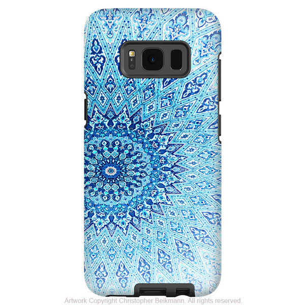 Blue Zen Mandala - Artistic Samsung Galaxy S8 Tough Case - Dual Layer Protection - Cloud Mandala - Fusion Idol Arts