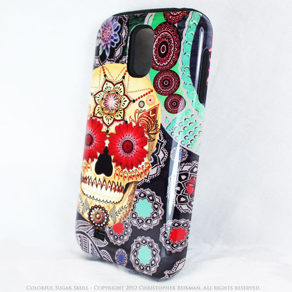 Colorful Sugar Skull - Paisley Garden - Day of The Dead Art Galaxy S4 case - TOUGH style protective case - Galaxy S4 TOUGH Case - 2