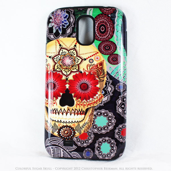 Colorful Sugar Skull - Paisley Garden - Day of The Dead Art Galaxy S4 case - TOUGH style protective case - Galaxy S4 TOUGH Case - 1