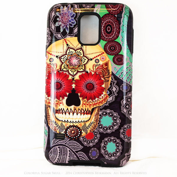 Colorful Sugar Skull - Paisley Garden - Day of The Dead Art Galaxy S5 case - TOUGH style protective case - Galaxy S5 TOUGH Case - 1