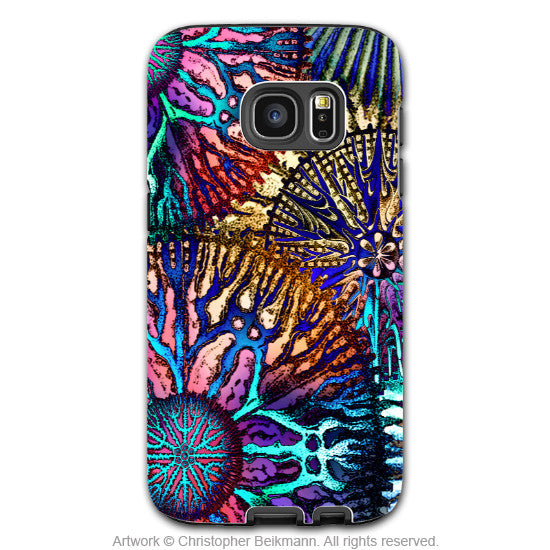 Abstract Coral Galaxy S7 Case - Colorful Coral Reef Art Samsung Galaxy S7 Tough Case - Cosmic Star Coral
