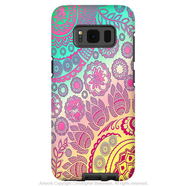 Pink Pastel Paisley - Artistic Samsung Galaxy S8 PLUS Tough Case - Dual Layer Protection - cotton candy mehndi - Fusion Idol Arts