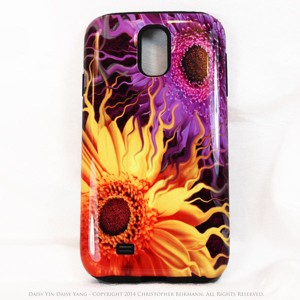 Purple and Yellow Floral Galaxy S4 case - TOUGH style protective case - Daisy Yin Daisy Yang - Galaxy S4 TOUGH Case - 1