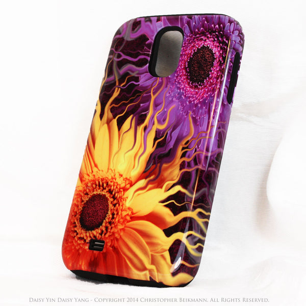 Purple and Yellow Floral Galaxy S4 case - TOUGH style protective case - Daisy Yin Daisy Yang - Galaxy S4 TOUGH Case - 2
