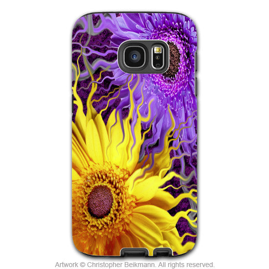 Purple and Yellow Daisy - Artistic Galaxy S6 EDGE TOUGH Case - Dual Layer Protection - Daisy Yin Daisy Yang - Galaxy S6 Edge Tough Case - 1