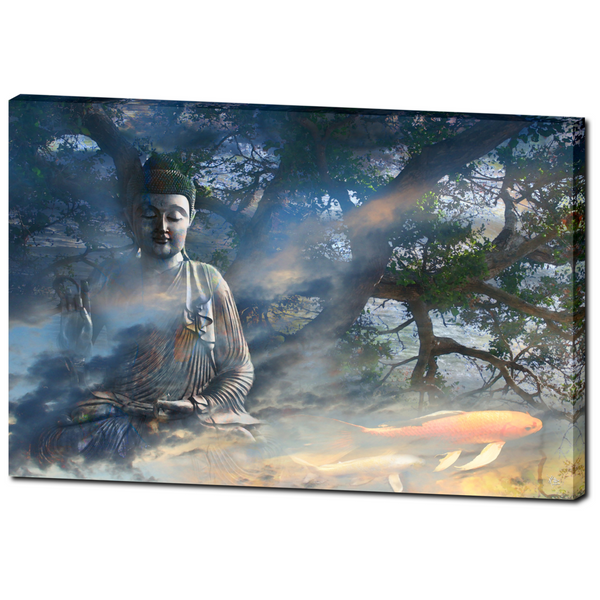 Ethereal Zen Buddha and Koi Fish Art Canvas - Universal Flow - Premium Canvas Gallery Wrap - Fusion Idol Arts - New Mexico Artist Christopher Beikmann