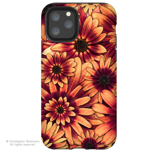 Fire Floret - Sunflower iPhone 11 / 11 Pro / 11 Pro Max Tough Case - Dual Layer Protection for Apple iPhone XI - Abstract Floral Art Case