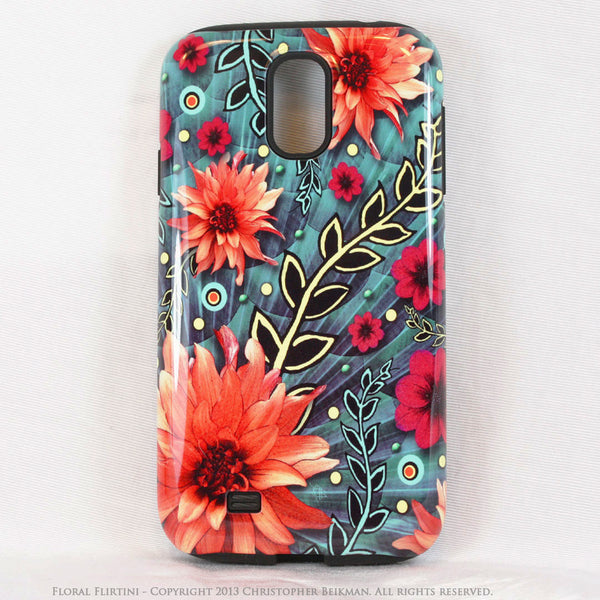 Paisley Galaxy S4 TOUGH Case - Floral Flirtini - Teal Green and Orange Paisley Floral Art - Unique Case For Galaxy S4 - Galaxy S4 TOUGH Case - 1
