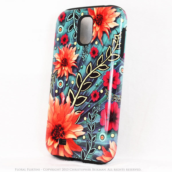 Paisley Galaxy S4 TOUGH Case - Floral Flirtini - Teal Green and Orange Paisley Floral Art - Unique Case For Galaxy S4 - Galaxy S4 TOUGH Case - 2