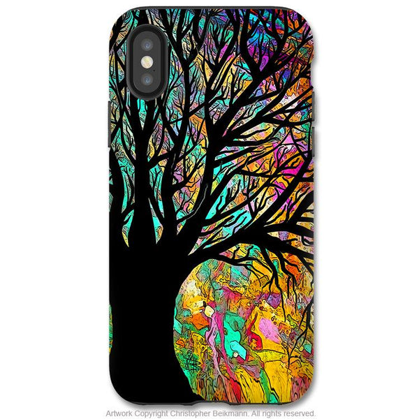Forbidden Forest - iPhone X / XS / XS Max / XR Tough Case - Dual Layer Protection for Apple iPhone 10 - Colorful Tree Silhouette Art - iPhone X Tough Case - Fusion Idol Arts - New Mexico Artist Christopher Beikmann