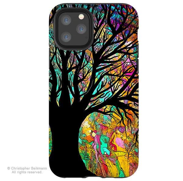Forbidden Forest - iPhone 12 / 12 Pro / 12 Pro Max / 12 Mini Tough Case Tough Case - Dual Layer Protection for Apple iPhone XI - Colorful Tree Art Case