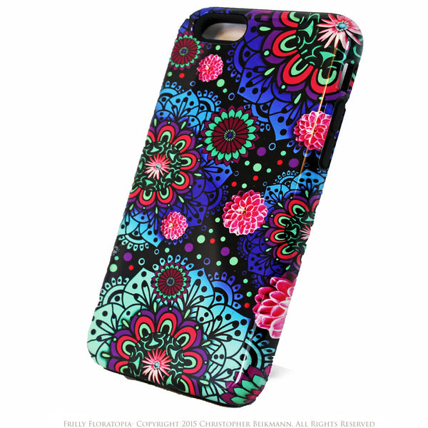 Frilly Floratopia - Colorful Floral iPhone 6 6s Plus TOUGH Case - Dual Layer Modern Paisley iPhone 6 6s Plus case - iPhone 6 6s Plus Tough Case - 2