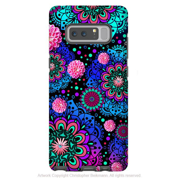 Colorful Modern Paisley Galaxy Note 8 Tough Case - Dual Layer Protection - Floral Case for Samsung Galaxy Note 8 - Frilly Floratopia